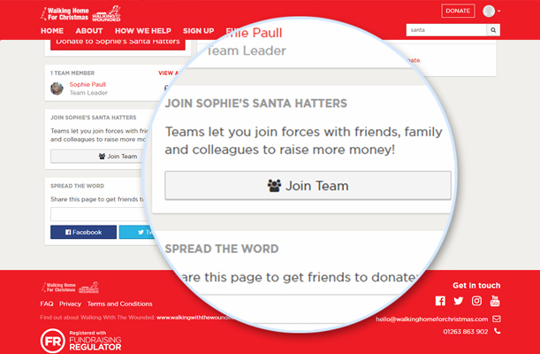 Screenshot of join team button