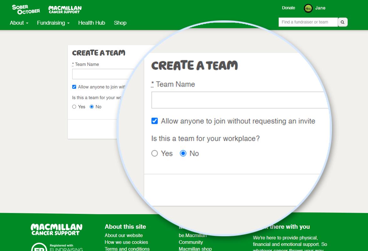 Screenshot of Create A Team page