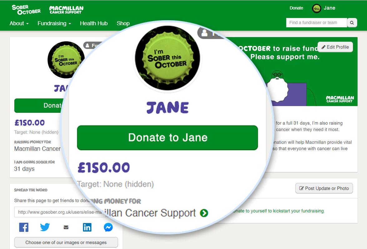 Screenshot of Donate Money button