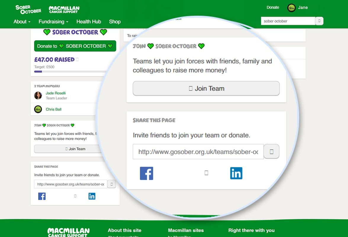 Screenshot of Join Team button