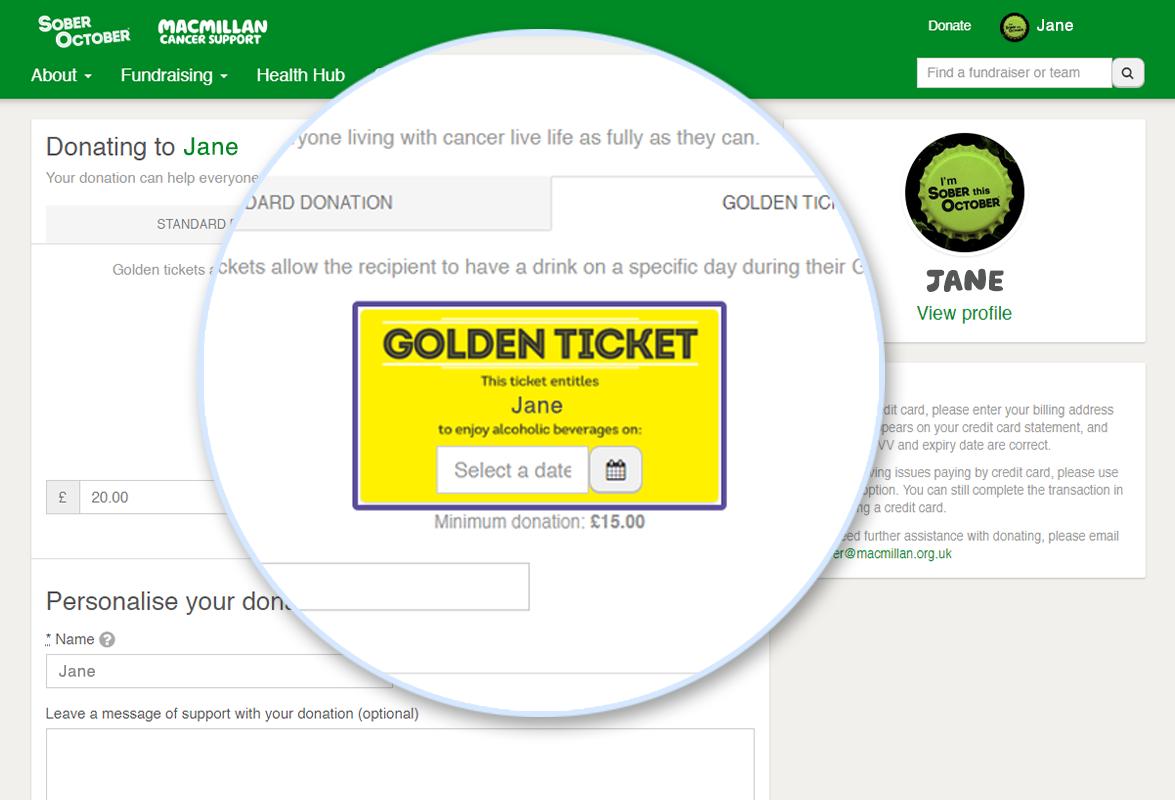 Screenshot of Donate Golden Ticket