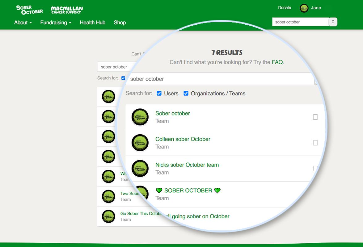 Screenshot of create a team button