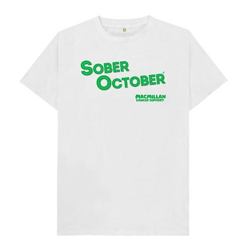 white Sober October t-shirt