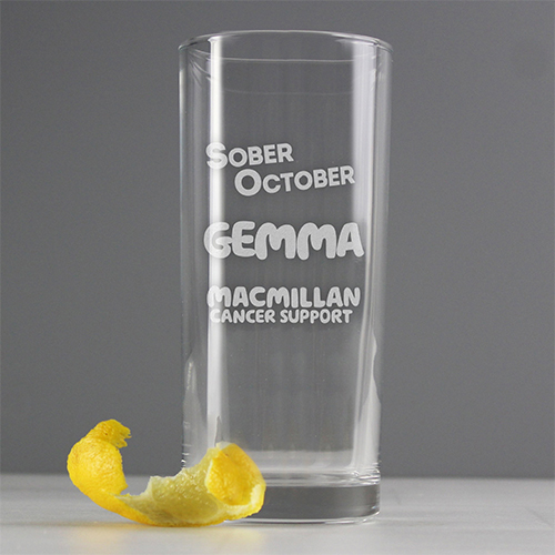clear Sober October drinking glass personalised with name in green text