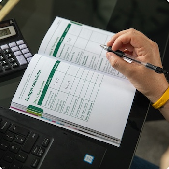 Financial support filling out form pen