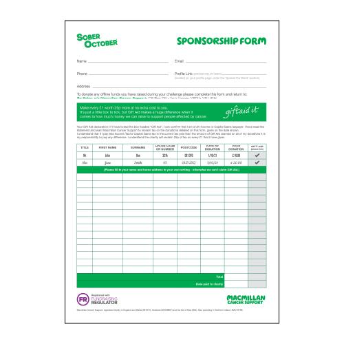 Sober October Sponsorship Form