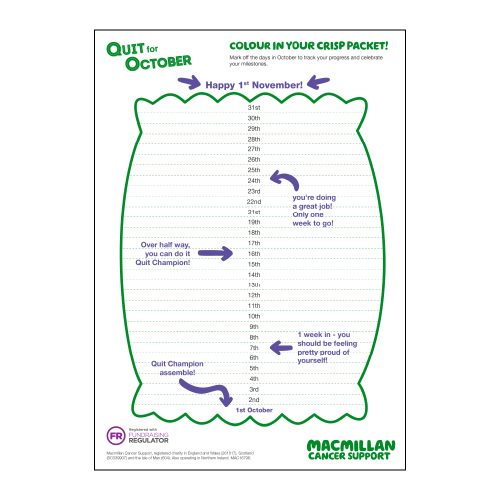 Quit For October tick off planner