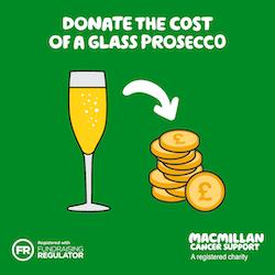 Donate the cost of a prosecco